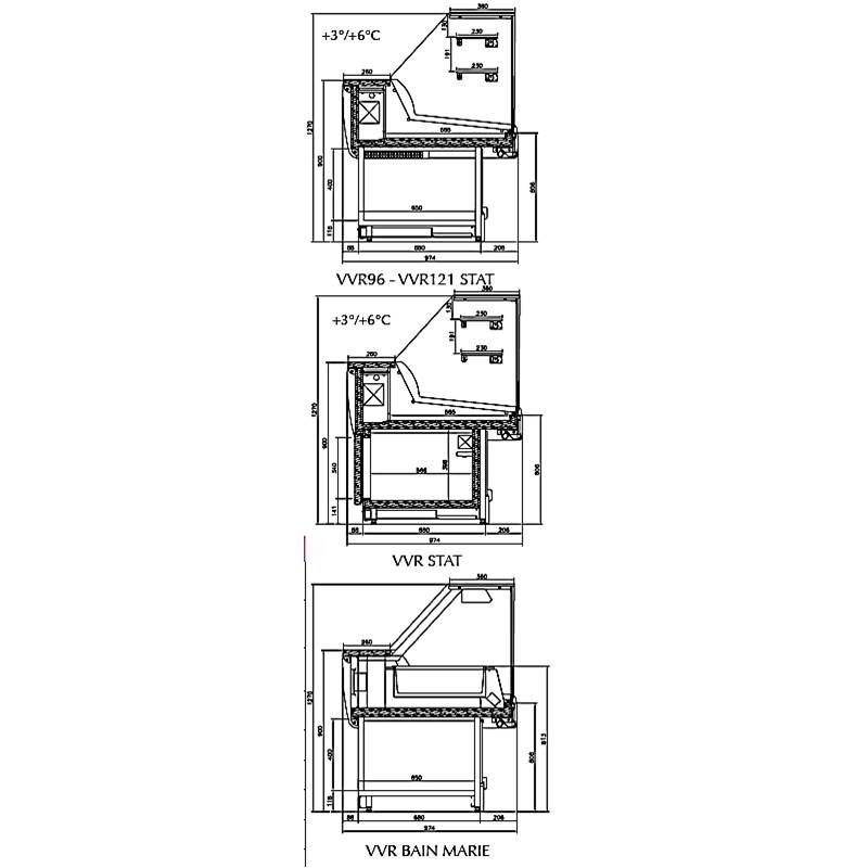 DROP-IN DESPLAY - Vitrine self service avev sur-structure bombée - H1730 mm, 3 étagères